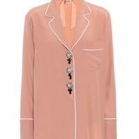 Embellished silk-blend shirt