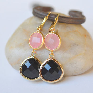 Large Black Teardrop and Pink Circle Dangle Earrings. Black Framed Jewel Dangle Earrings.  Pink Black Earrings. Jewelry Gift.