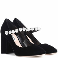 Embellished velvet Mary Jane pumps