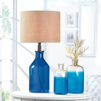 Vase Set-Country Blue Bottles Set of 2