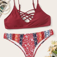 Lattice Top With Aztec Print Panty Bikini