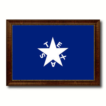 Texas History Lorenzo De Zavala Military Flag Canvas Print with Brown Picture Frame Home Decor Wall Art Gift Ideas