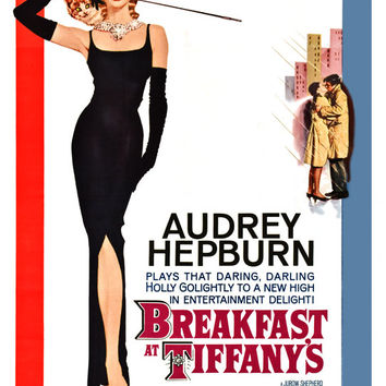 Breakfast at Tiffany's - Home Theater Decor - Vintage Classic Movie Poster Print  13x19 - Audrey Hepburn - Mid Century Modern Art