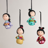 Clay Kokeshi Doll Ornaments -Set of 4 - World Market
