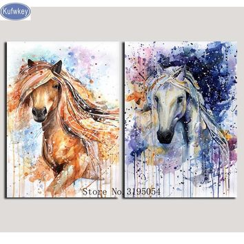 hobby,5D,diy,Diamond Painting 2 pcs,horse,kitchen,Cross Stitch,Full,Diamond Embroidery,3d Mosaic,pattern,beaded embroidery,art