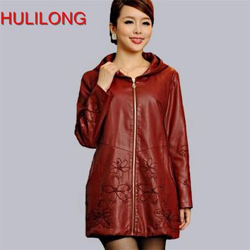 Plus Size 5xl Spring And Autumn Women Leather Clothing Outerwear With A Hood Leather Jacket Womens Coat Windbreaker Female