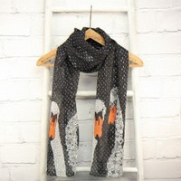 Buy Disaster Designs Hola Trio of Swans Scarf in Black from lisaangel.co.uk :: Lisa Angel Jewellery and Gifts