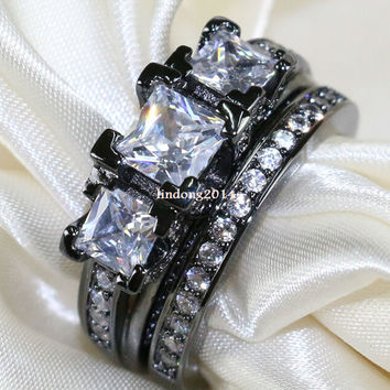 Bridal Sets Black Gold Filled Rhodium CZ Onyx Women's Wedding Ring Engagement Ring Present Sz6-9