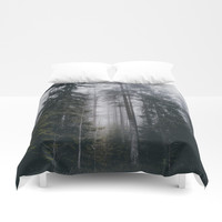 Into the forest we go Duvet Cover by happymelvin