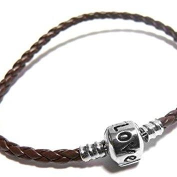 Brown 8quot Inch Pandora amp Chamilia Compatible Love Charm Starter Bangle Friendship Bracelet Braided Woven Leather TarnishResistant Silver Plated Snap Box Barrel Clasp