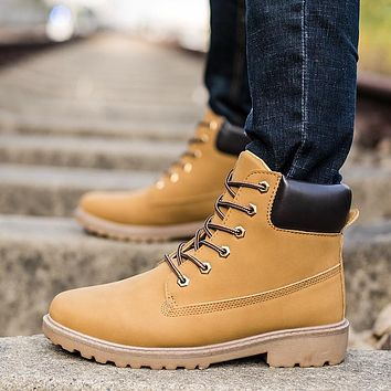 2018 New Autumn Winter Boots Men Suede Leather Unisex Fashion Snow boots Male Work Shoes Lover Martin Boot Large Plus size39--46