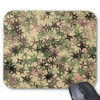 Stars Pattern in Camouflage Colors Mouse Pad