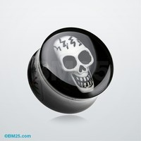 Electro 3D Skull Resin Inlay Double Flared Ear Gauge Plug