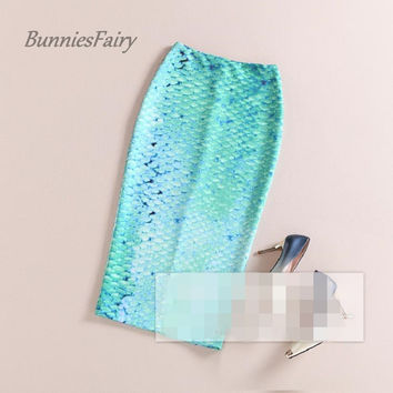 BunniesFairy 2016 Spring Summer New Ladies Light Green Sexy Mermaid Floral Print High Waist Pencil Skirt Slim Bodycon Elastic