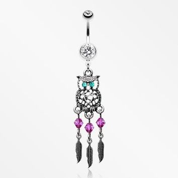 Guardian Owl Dreamcatcher Belly Button Ring
