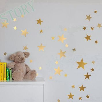 Gold stars wall decal vinyl stickers- golden Star Kids Rooms Wall Art Nursery Decor Stickers