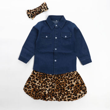 Baby Girl Denim Leopard Skirt Set & Headband (3pcs)