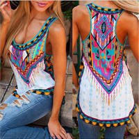 White Ethnic Print Chiffon Sleeveless Shirt