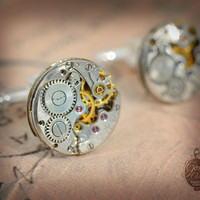 Steampunk Cufflinks  with vintage watch movements. Upcycled watch movements mens Cuff Links