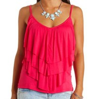 Triple Ruffle Tank Top by Charlotte Russe - Pink