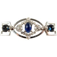Art Déco brooch with sapphire cabochons and old European cut diamonds for almost 6ctw, 18K solid gold, Hallmarked