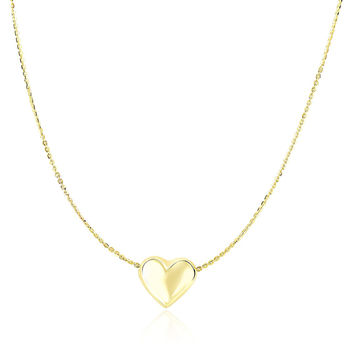 14K Yellow Gold Chain Necklace with Sliding Puffed Heart Charm