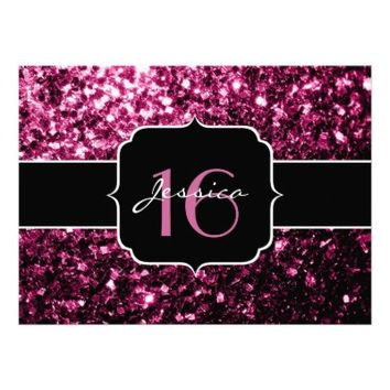 Beautiful Pink glitter sparkles print Sweet 16 invite by PLdesign