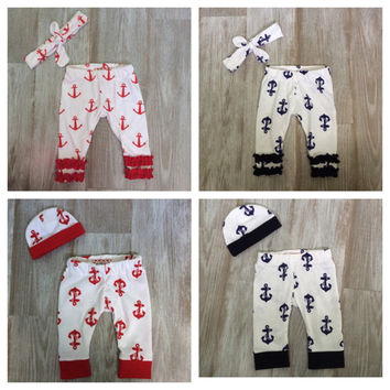 Twin Boys & Girls Navy or Red Anchor leggings w/ ruffles or cuffs. Headband /hat included! Take home outfit. pictures! 4th of July! Siblings