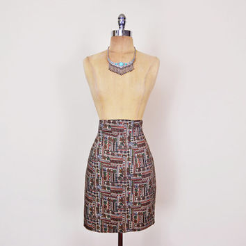 Tribal Skirt Tribal Print Skirt Ethnic Skirt India Skirt High Waist Skirt Mini Skirt Pencil Skirt Hippie Skirt Boho Skirt 80s 90s M Medium