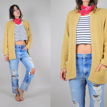 camel knit CARDIGAN vtg 80's sweater pocket Oversized cozy knit Grandpa baggy jumper OS