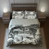 "Skull Bedding, Sugar Skulls  Duvet Cover Comforter Set, Cream  Rose Floral  ""Always Kiss Me Goodnight"" Day  Of The Dead Decor"