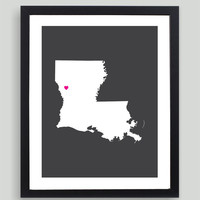 My Heart Resides In Louisiana Art Print - Any City, Town, Country or State Map Customized Silhouette Gift