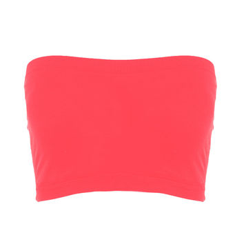 Seamless Crop Tube Top-Bright Coral-One Size Fits Most