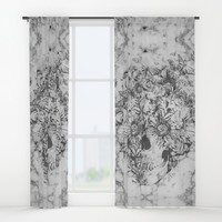 Bookmatched Marble Skull Window Curtains by Kristy Patterson Design