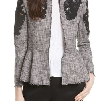 Rebecca Taylor Lace Inset Tweed Jacket | Nordstrom
