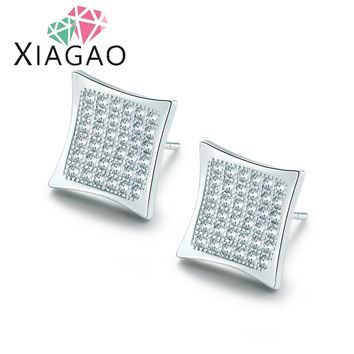 XIAGAO 4 Colors Delicate Square Shaped Micro Paved CZ Diamond Crystal Ear Studs Earrings For Men Women Jewelry Christmas Gift