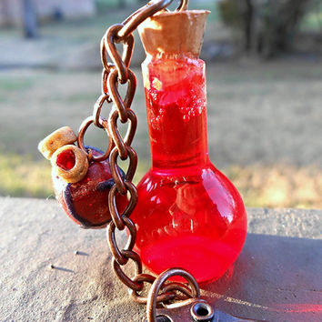 Health Potion Keychain - Glass Bottle