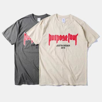 ESBONBX New fashion 2016 mens hip hop tops tee shirts Justin Bieber Fear Of God Purpose Tour t shirt tshirts for men