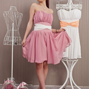Pink Short Cocktail Dress/Ribbon Cute Chiffon Prom Dress/Pink Wedding Dress/Short Bridal Dress/Heart Shape Bustier/Knee Length Party Dress