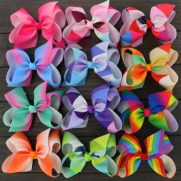 "Toplay 12pcs/lot Little Girls Large Grosgrain Ribbon 6"" Hair Bows Boutique Rainbows Bows With Alligator Clips Accessories"