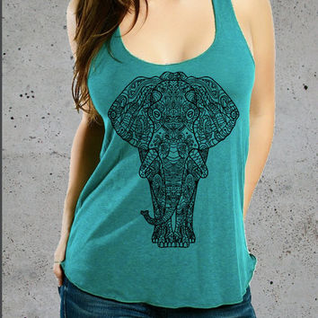 Womens ELEPHANT Tribal american apparel Tri-Blend Racerback Tank Top S M L - (7 Color Options)