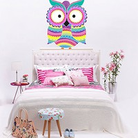 Owl Ornament Full Color Wall Decal Owl Animal Mural for Nursery Decor Colorful Vinyl Sticker SD21