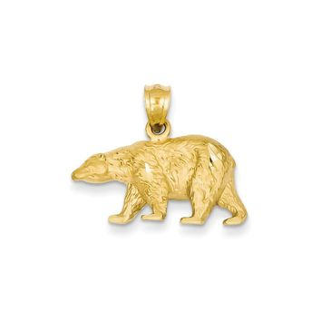 14K Yellow Gold Diamond-cut Bear Pendant