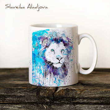Lion 2 Mug Watercolor Ceramic Mug Unique Gift Coffee Mug Animal Mug Tea Cup Art Illustration Cool Kitchen Art Printed mug