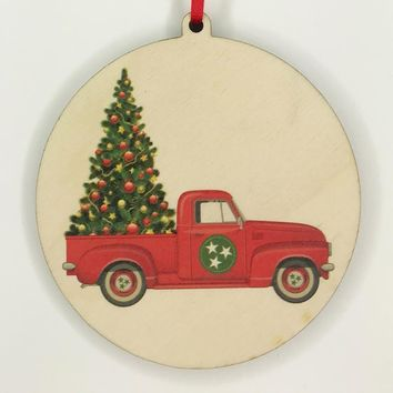 Wooden Natural Tri Star Truck Solid Christmas Tree Ornament