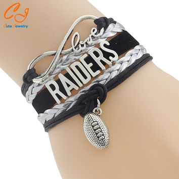 Infinity Love Raiders Football Team Bracelet NFL Customize Oakland Sport Wristband Friendship Bracelets