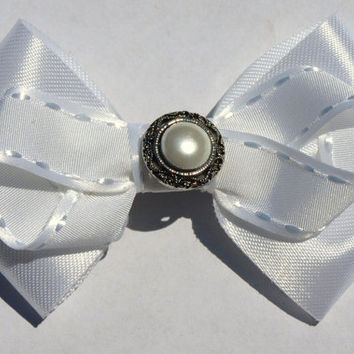 white pearl hair bow- blessing accessories- baptism hair