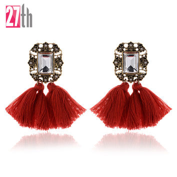 2016 New Fashion Crystal Jewelry Vintage Tassel Statement Bib Stud Earrings For Women Jewelry Gift 10 Colors Hot Sale