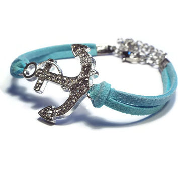 Suede Bracelet with Rhinestone Anchor