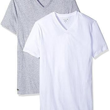 LACOSTE MENS AMAZON 2 PK V NECK TEE, WHITE/GREY, MEDIUM